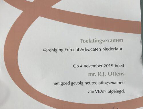 Reinja Ottens heeft toelatingsexamen VEAN gehaald